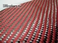 Карбон-Кевлар (Красный) 195г/м,  Твилл 2х2 ШИРИНА - 100см